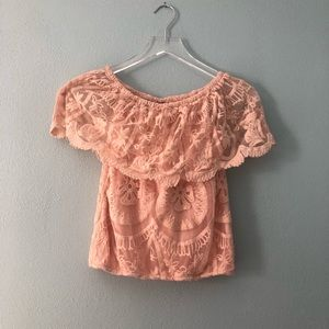 🌸 Daytrip | coral off the shoulder lace crop top